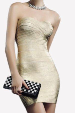 Gold Bandage Kleid XS 32 34 Bandeaukleid