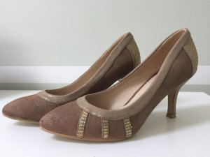 Gold braune Pumps