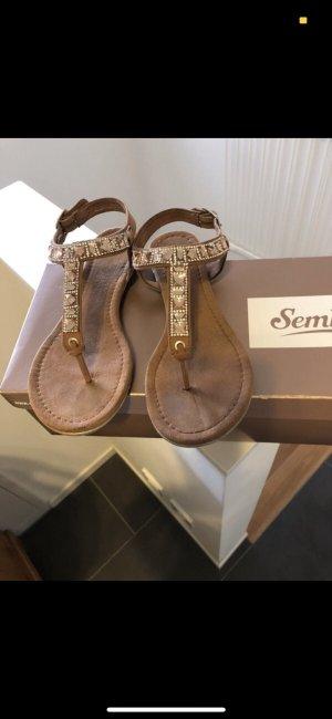 van der Laan Toe-Post sandals brown-gold-colored