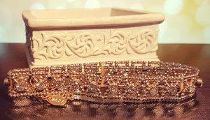 Gold Choker, Gliederkette, silber Straßsteine, Muster, Blogger, Zara, Neu