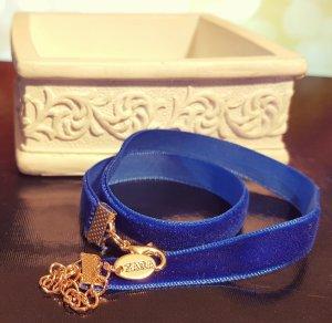 Gold Choker, Velvet, Stoff, blau, Colliers, Zara, Blogger, Neu