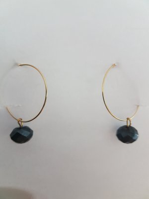 Gold-Farbene Kreolen mit schwarzem Glasschliff-Stein (selbstgemacht)