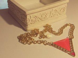 Gold Gliederkette, pink Anhänger, Dreieck, verstellbar, Blogger, Zara