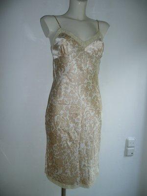Gold Hawk Slip Dress Träger Kleid 100% Seide mit Spitze Creme + Beige Gr S 36
