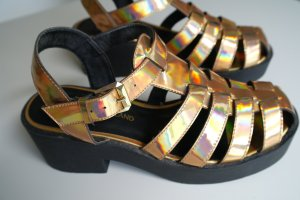 Gold Metallic Chunky Gladiator - River Island