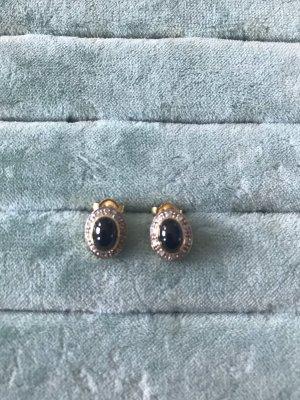 Gold Ohrringe Echt Gold 585 echter Saphir echte Diamanten