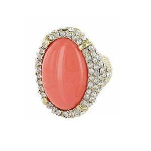 Gold Ring Stretch Dehnbar Vergoldet Stretchring Elastik Kristall klar Transparent Apricot Peach Pfirsich