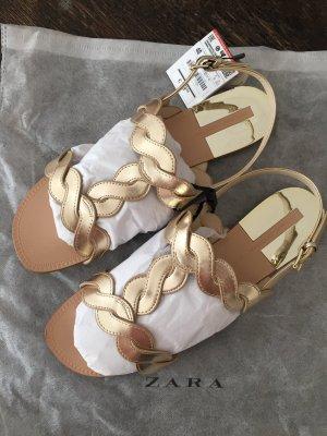 Gold Sandalen Zara 40 Neu Flechtoptik