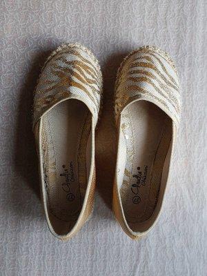 Claudia Ghazzani Espadrille sandalen wit-goud