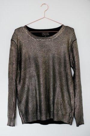 Gold-Schwarz Metallic-Pullover
