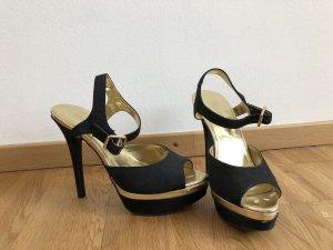 Gold/Schwarze High Heels