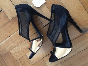 Zara Pumps zwart-zandig bruin Textielvezel