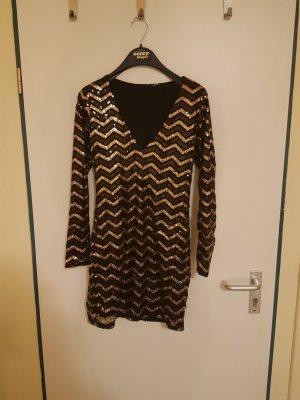 H&M Abito con paillettes nero-oro
