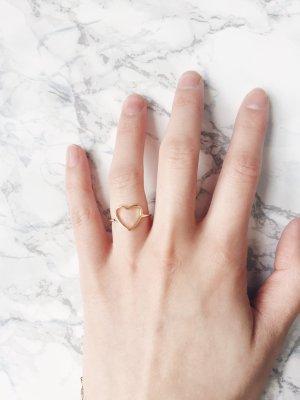Gold Statement Blogger minimalistisch  urbanTrend puristisch Herz Ring
