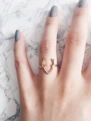 Gold Statement Blogger minimalistisch  urbanTrend puristisch Hirsch Geweih Ring
