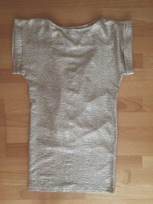 Gold Tunika, Mini Kleid, Top Glitter, sexy rückenfrei, Blogger, Wasserfall, XS