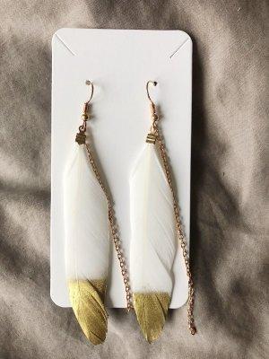 Gold weiße Federohrringe