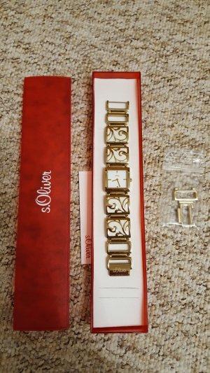Gold-weiße Uhr von s.Oliver