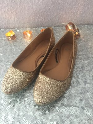 Golden Glitzer Ballerinas
