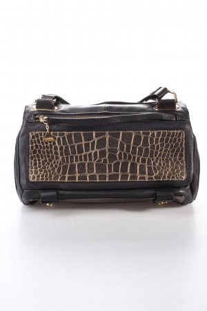 Golden Lane Duo Satchel S Croc Satchel black and gold