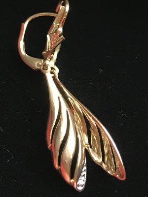 Christ Pendientes de oro marrón arena-blanco oro verdadero
