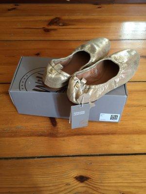 Goldene Ballerinas // Echtes Leder // NEU