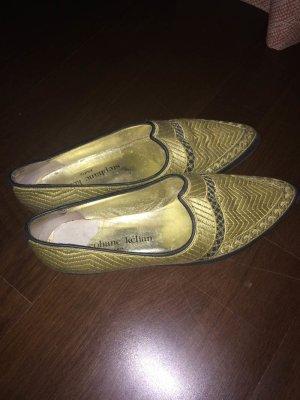 Goldene besondere Schuhe, Ballerinas, stabile Sohle, Haremsschick