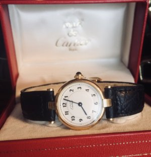 Cartier Watch With Leather Strap gold-colored-black real gold