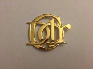 Goldene Christian Dior Logo-Brosche