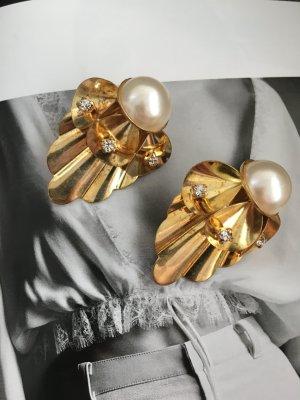 Goldene Clipohrringe Strass Perle