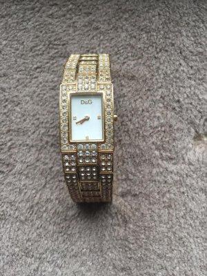 Goldene D&G Uhr mit Strass