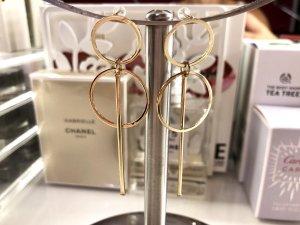 Goldene Doppel Kreolen Ohrringe