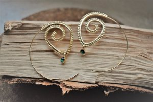Ear Hoops gold-colored-green
