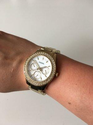 Goldene Fossil Uhr mit Steinen