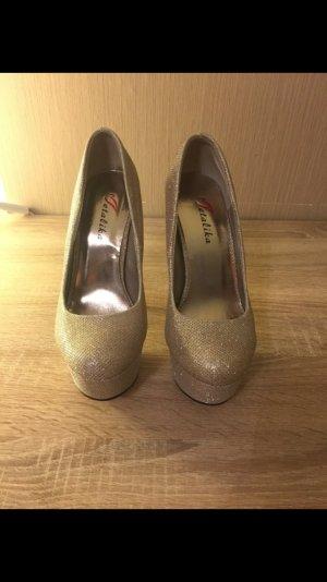 Goldene Glitzer high Heels!!