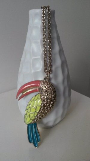 goldene Halskette, Anhänger Tukan, Statement
