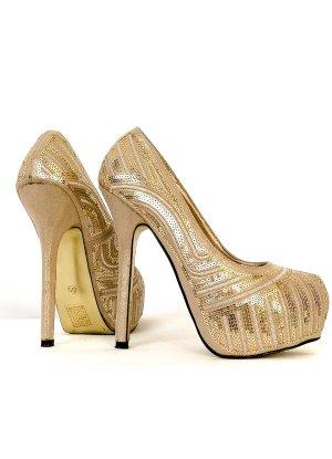 ⭐ Goldene High-Heels pumps ⭐ mit Plateau für Party Club Bar Weihnachten