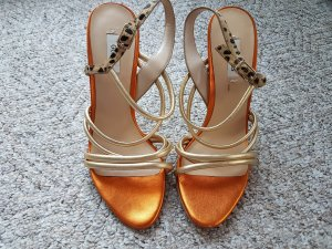 Guess Strapped High-Heeled Sandals gold-colored-orange leather