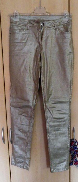 Pantalón elástico color oro Algodón