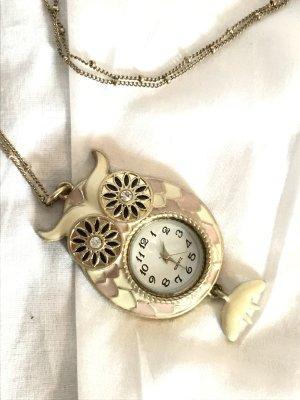 Goldene Kette mit Eulen-Uhr-Anhänger