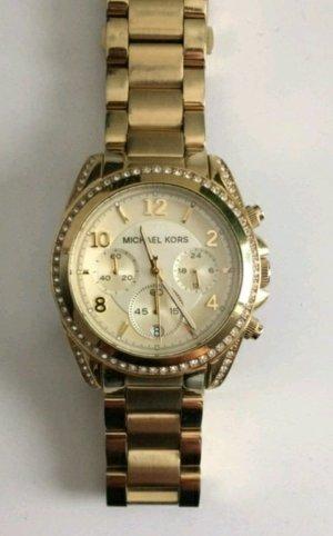 Goldene Michael Kors Uhr mit weißen Ziffernblatt und Steinchen