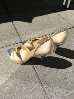 Nine west Peep Toe Pumps gold-colored-silver-colored