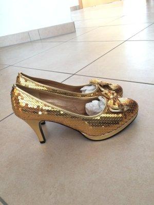 Goldene Pailletenpumps