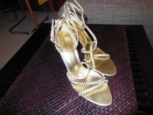 Castro Strapped High-Heeled Sandals gold-colored leather