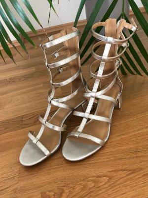 Goldene Riemchen Sandaletten Flach