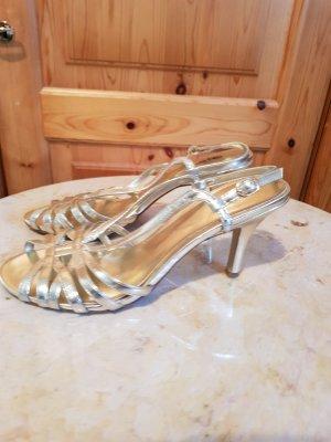 goldene sandalen mit absatz