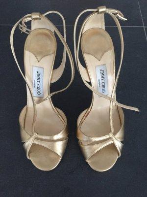 Goldene Sandalen von Jimmy Choo in 38 1/2