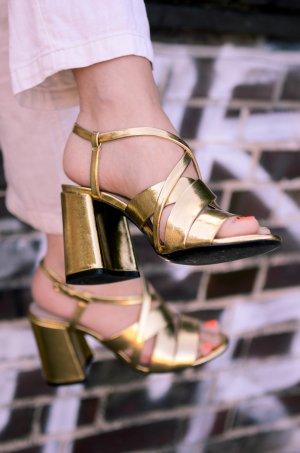 Zara Basic Sandales à talons hauts et lanière jaune foncé faux cuir