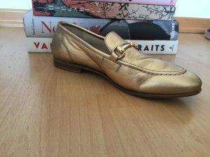 goldene Tommy Hilfiger Loafer aus Leder