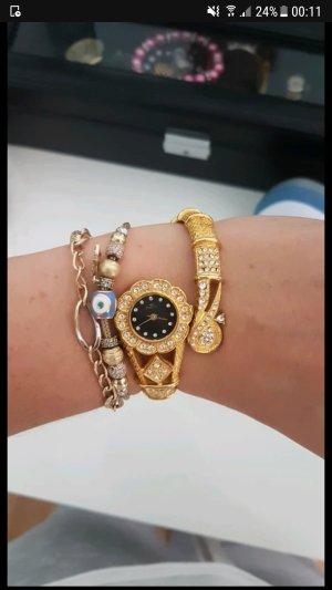 Majestic Montre avec bracelet métallique argenté-doré